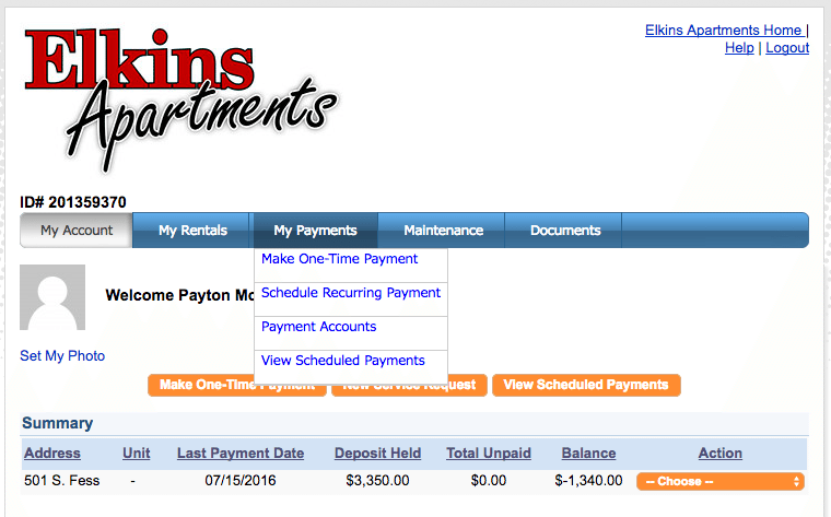 Delete Auto ePayment View Payments Page