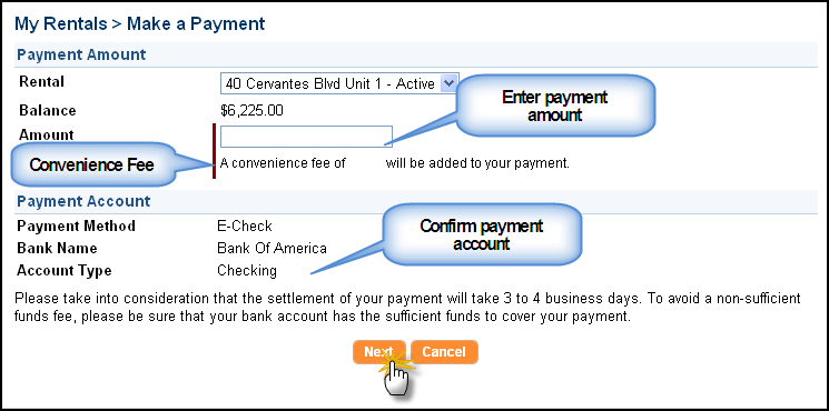 Enter the payment amount and confirm the payment account
