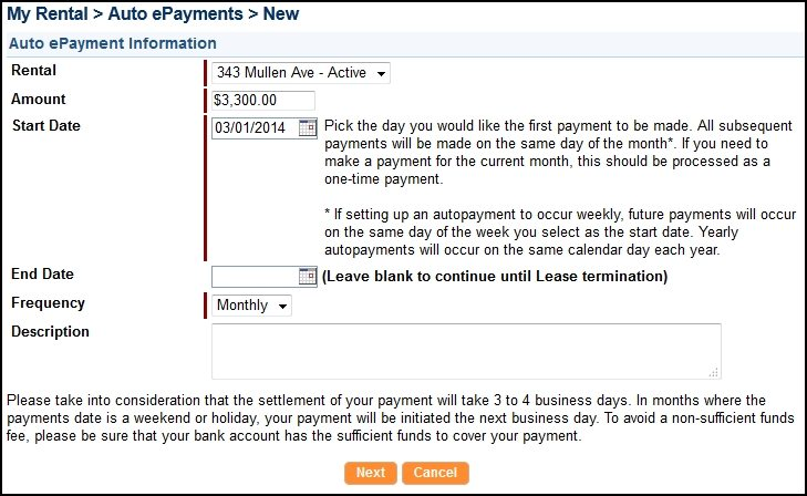 Fill in the required payment information