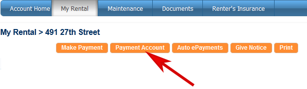 click the Payment Account button