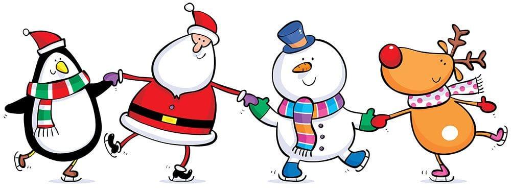 happy holidays santa snowman holding hands