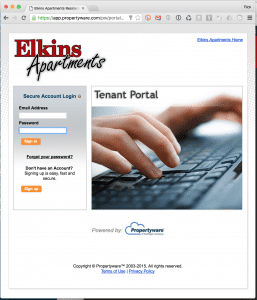 tenant portal login elkins apartments